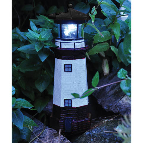 Mini Traditional Lighthouse 25cm - Small Solar Motion LED Light By Kingfisher Gardening